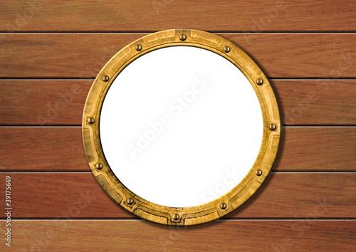 ship porthole on wooden wall isolated - 39175669