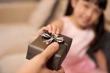 Asian Girl Receiving Gift