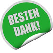 Sticker grün rund curl unten BESTEN DANK!
