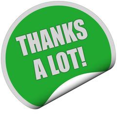 Sticker grün curl unten THANKS A LOT!