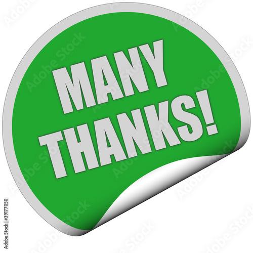 Sticker grün rund curl unten MANY THANKS!