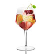 Wine glass of fruit juice with  white background