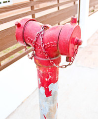 Red fire hydrant on walkway