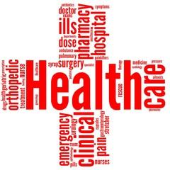 healthcare e salute - tag cloud a forma di croce rossa