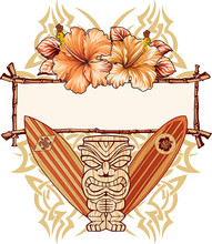 Tiki, surfboards and hibiscuses