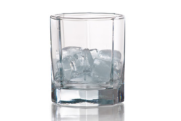 Glass with ice for a cocktail on a white background