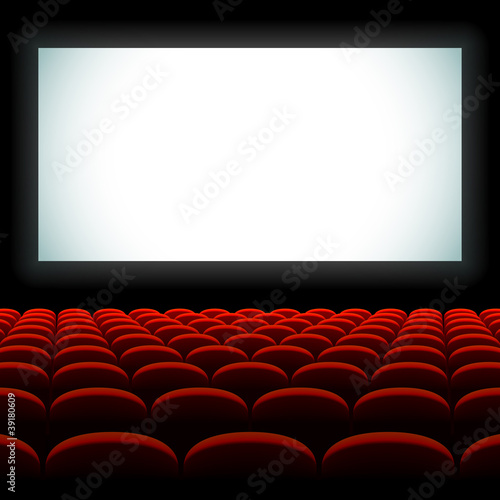 Cinema auditorium with screen and seats