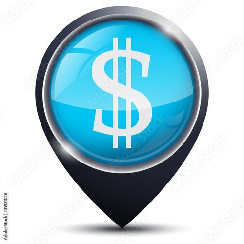 Symbole glossy vectoriel Dollar / Banque