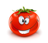 smiling red ripe tomato red ripe tomato vector illustration