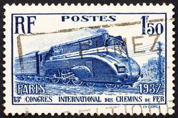 Postage stamp France 1937 Streamlined Locomotive