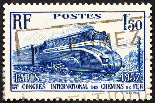 Postage stamp France 1937 Streamlined Locomotive