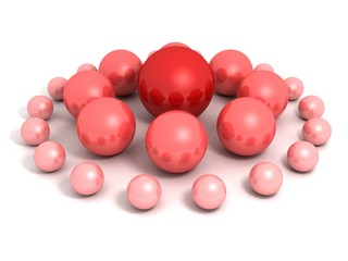 red ball leader of abstract business team