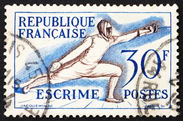 Postage stamp France 1953 Fencing