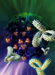 Computer artwork of antibodies (Y-shaped) and cancer cells