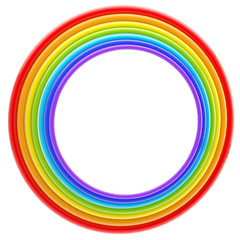 Abstract frame:rainbow colored rings isolated
