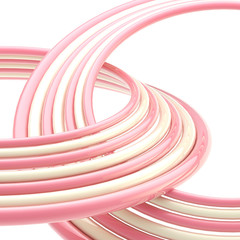 Abstract background: pink and white rings on white