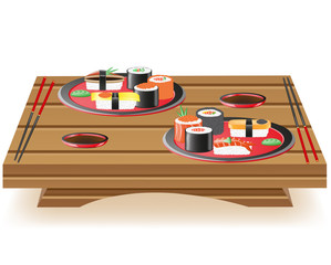 suchi served on wooden table vector illustration