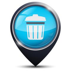Symbole glossy vectoriel déchetterie / poubelle / ressourceries
