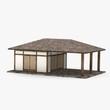 3d render of japanese house