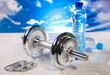 fitness barbell and water