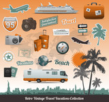 Retro vintage travel icons symbol collection poster