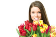 Young women with tulips