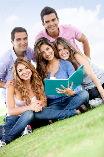 Group studying outdoors