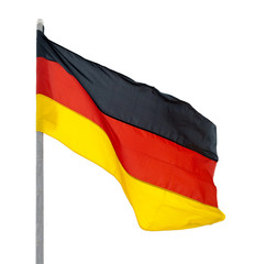 Flag of Germany, fluttered in the wind.