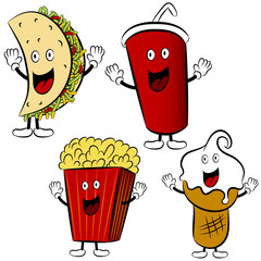 Fast Food Treat Cartoon Mascots