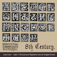 vector set: Ornamental Alphabets, from the Eighth Century