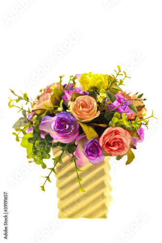 Roses in pitcherwith clipping path