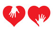 Hearts with helping hands, abstract vector illustrations