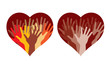 Hearts with many helping hands, abstract vector illustrations