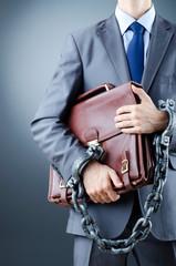 Arrested businessman in crime concept