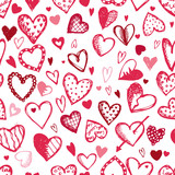 Fototapety Seamless pattern with valentine hearts, sketch drawing