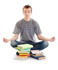 Teenager meditates