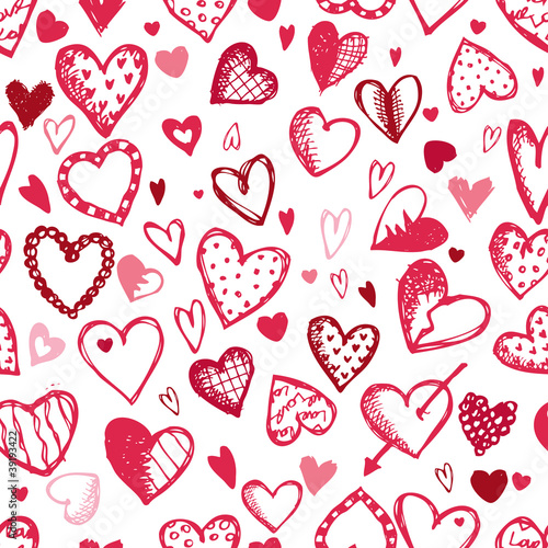 Seamless pattern with valentine hearts, sketch drawing