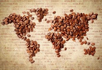 Mapa świata ziarna kawy fototapeta
