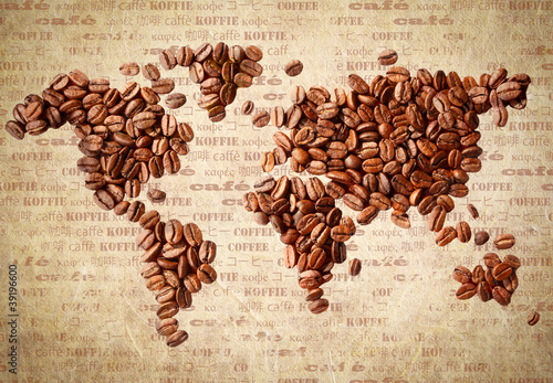World Map Of Coffee Beans