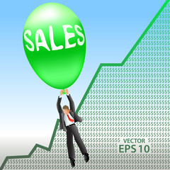 Happy sales manager floats up over positive revenue chart