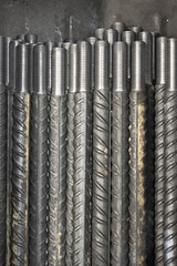 threaded metal rod, close up of screw thread