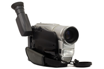 Video camera on a white background