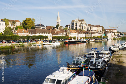 Auxerre, France. Cityscape with abbey and Yonne river