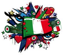 Bandiera Forza Italia squadra azzurra graffitis pop etiqueta de arte