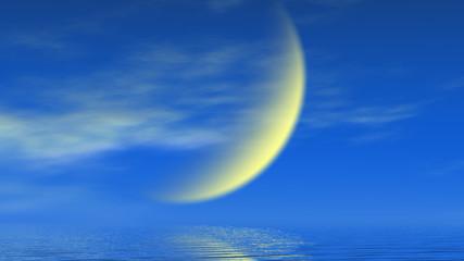 半月の夜空