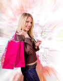 Beautiful blond girl buyer with credit card poster