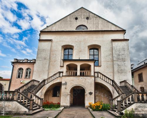 Panel Szklany Old Synagogue Izaaka in Kazimierz district of Krakow, Poland