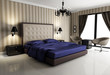 Chic luxury hotel biege, purple, bedroom, with chandelier