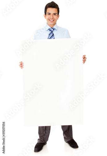 Businessman holding a banner