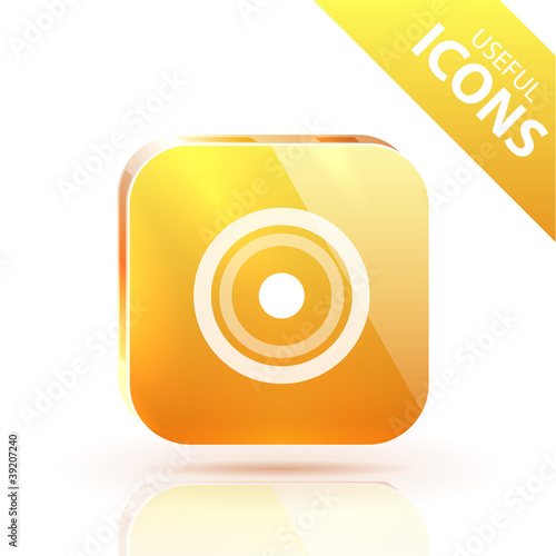Glossy yellow orange metallic button